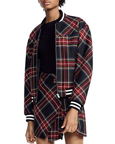 Maje - Bazak Plaid Bomber Jacket